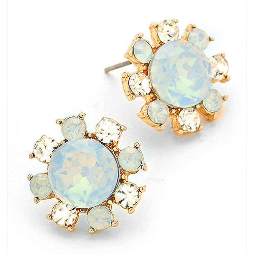 Light Blue Alabaster Button Earring