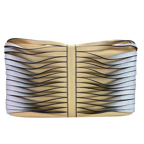 Sondra Robert's Twisted Nappa Fold Over Clutch Gold/Silver