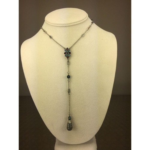 """Sorrelli's Long Montana Blue Tapestry """"Y"""" Necklace"""