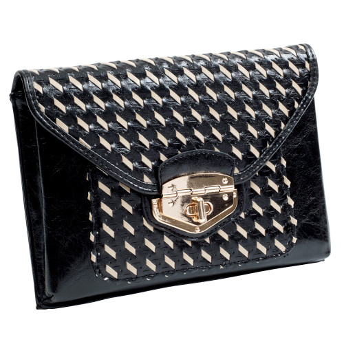 Black/Beige Woven Envelope Clutch