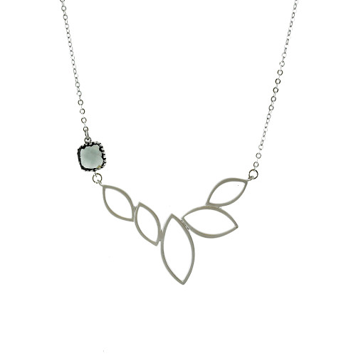 Lotus Necklace With Gray Crystal