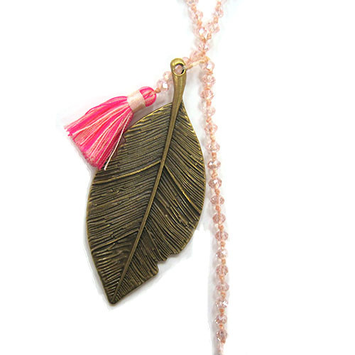Zacasha's Crystals, Leaves and Pink Multi-colored Tassels