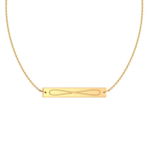 Zeta Tau Alpha Gold Infinity Bar Necklace