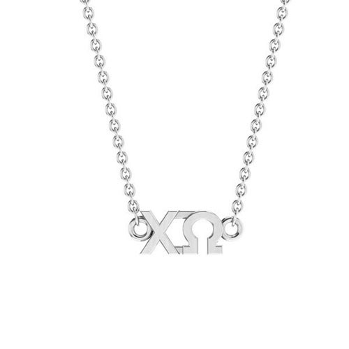 Chi Omega Silver Horizontal Lavalier