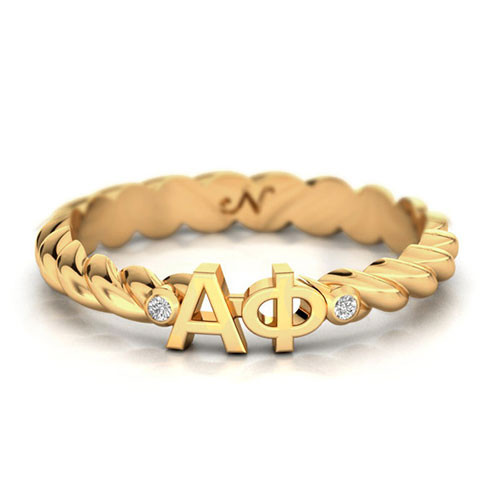 Alpha Phi Gold Pav© Twist Letter Ring