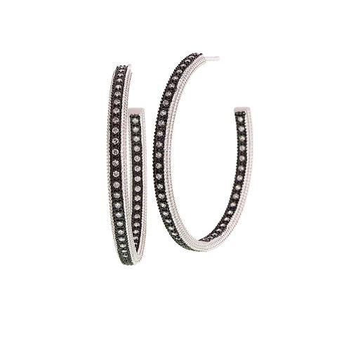 Freida Rothman's Black Rhodium and Sterling Silver Crystal Hoops