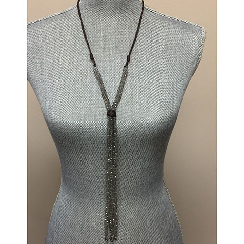 "Leather and Gray Crystal ""Y""å Necklace"