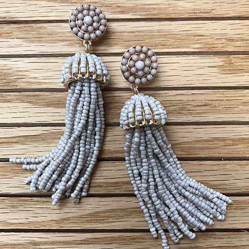 Large Taupe Beaded Tassel Earring