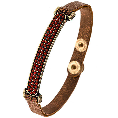 Faux Bronze Leather & Red Bead Bar Bracelet