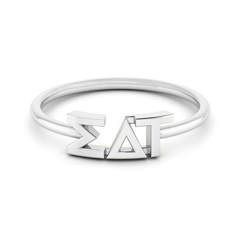 Sigma Delta Tau  Silver Thin Band Letter Ring