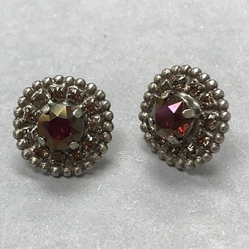 Antiqued Silver Burgundy Champagne Post Sorrelli Earring