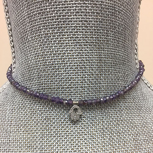 Genuine Amethyst Beaded Choker with Crystal Hamsa