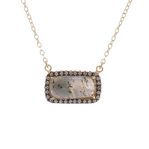 Genuine Labradorite Rectangle Necklace