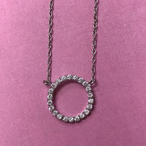 Cubic Zirconia Small Circle Necklace