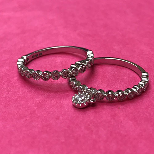Sterling Two Band Cubic Zirconia Dangle Ring Set'¨