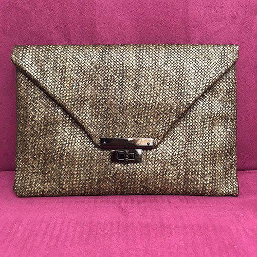 Sondra Roberts Embossed Weave Envelope Clutch in Brown