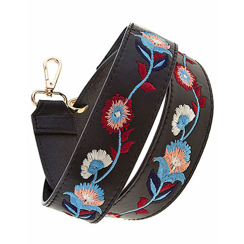 Black Embroidered Handbag Strap