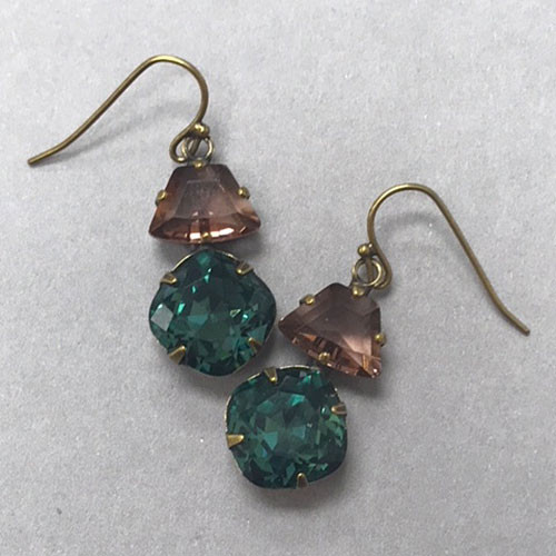Sorrelli Teal and Light Amethyst Crystal Drop earring