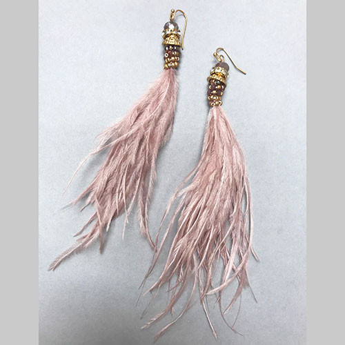 Blush Pink Ostrich Feather with Crystals