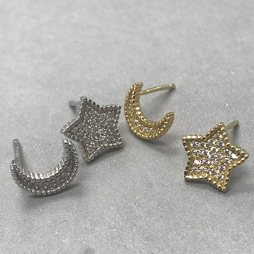 Cubic Zirconia Pave Moon & Star Post Earrings