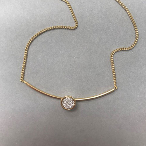 Gold Vermeil Bar with Pave Cubic Zirconia Disk Necklace
