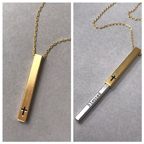 Secret Message Gold Bar with Cross Necklace