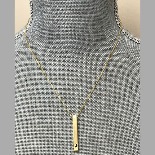 Secret Message Gold Bar with Moon Necklace
