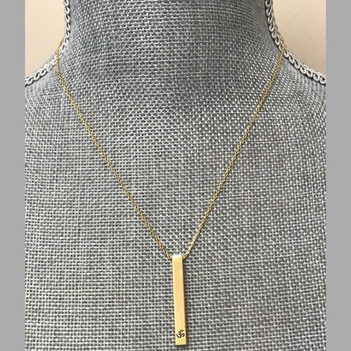 "Secret Message Gold Bar with 'åÏOm"" symbol Necklace"
