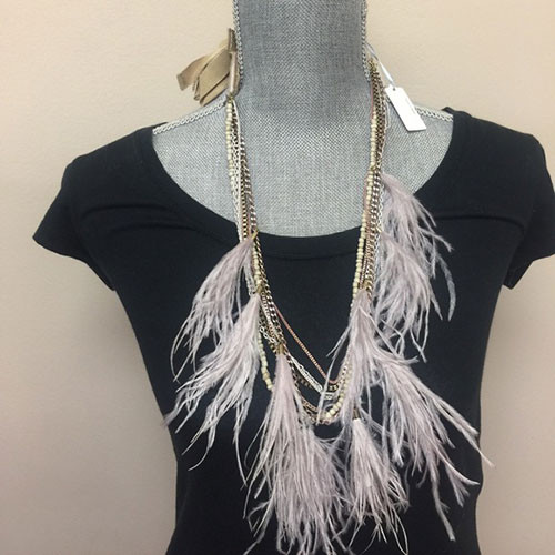 Ostrich & Chains Layered Necklace