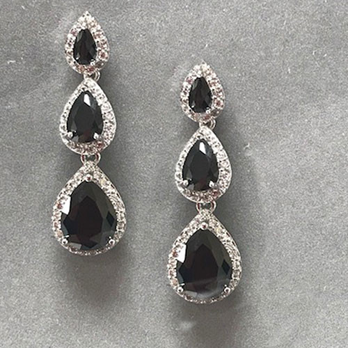 Triple Pear-Shaped Cubic Zirconia Dangle Earrings
