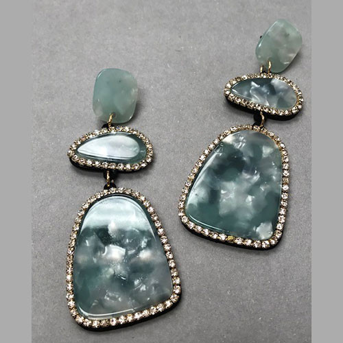 Triple Resin Stone Framed Dangle Earrings