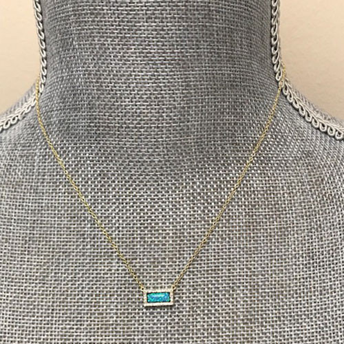 Blue Opal & CZ Rectangle Dainty Necklace