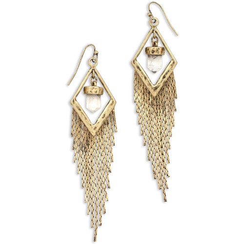 Tribe's Mystical North Star Quartz Crystal Chain Dangle Burnished Gold Earrings