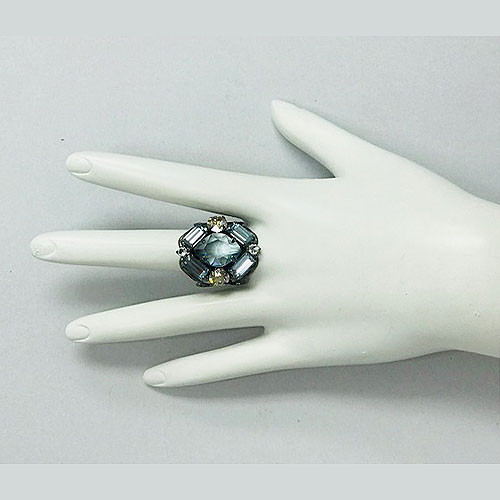 Sorrelli Light Sapphire & Clear Crystal Statement Ring