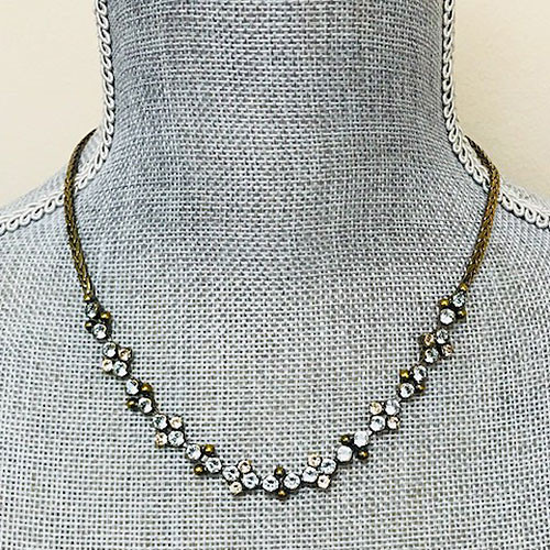 Sorrelli Antiqued gold with Coastal Blue Crystals Necklace