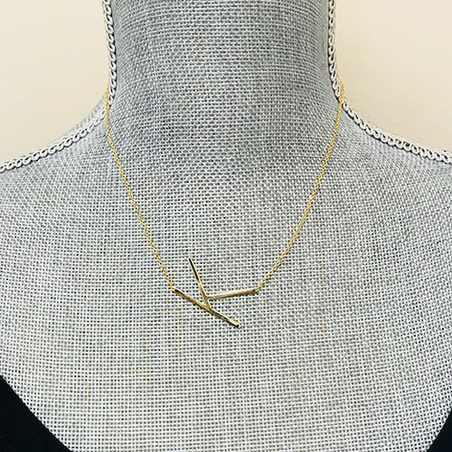 "Our Wonderful 1 1/4"" Sideways Initial Necklaces in Gold"