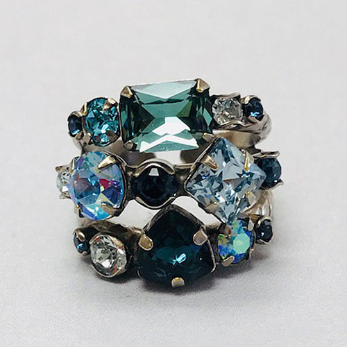 Sorrelli Hues of Blue Triple Band Ring