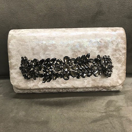 Sondra Roberts Iridescent Crushed Velvet Jeweled Bar Clutch-Beige