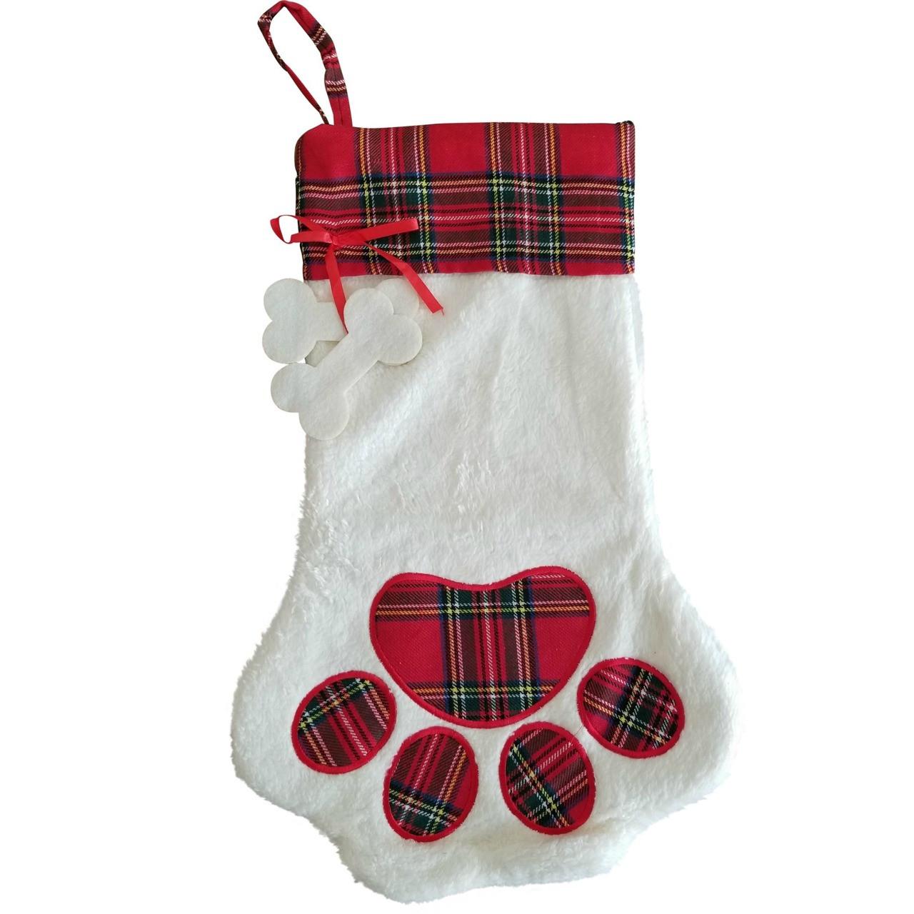 Dog Paw Plaid Christmas Stocking - My Vinyl Direct