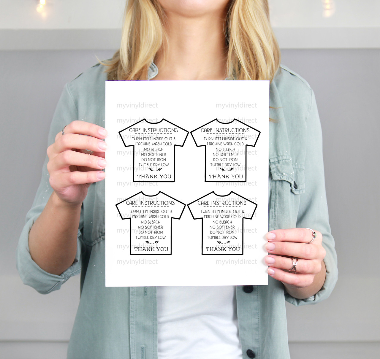 T Shirt Care Instructions Printable File My Vinyl Direct