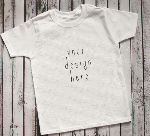 Plain White Short Sleeve Boys T Shirt Mock-Up (#6)
