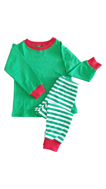 GREEN Christmas Pajamas Top & Bottom Set