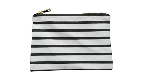 Black & White Stripe Canvas Make Up Bag