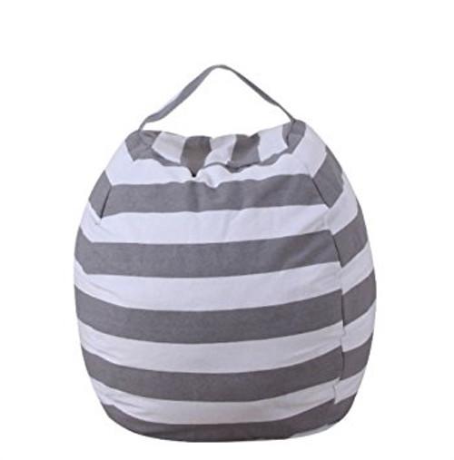 Stuffed Animal Storage Bag: Grey Stripe