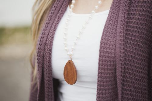 Wooden Tear Drop & Pearls Necklace