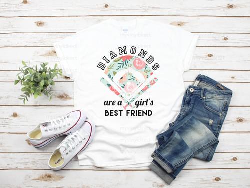 Diamonds Are a Girls Best Friend Baseball   Cotton Transfer