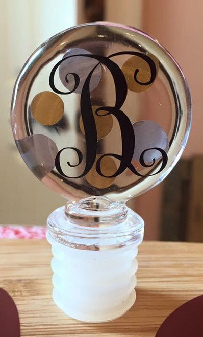 Circle Acrylic Wine Bottle Stopper personalized with our Gloss 651 vinyl