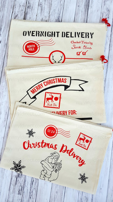 Santa Sack: Available in 3 exclusive designs only found at My Vinyl Direct