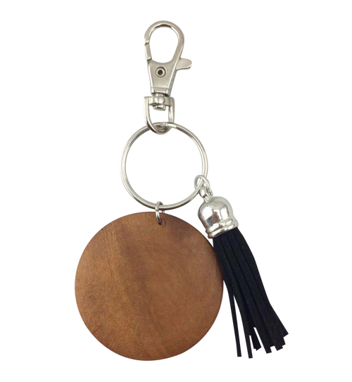 Wood & Tassel Key Chain