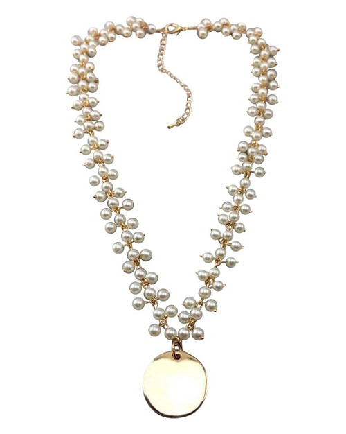 Pearl Cluster Necklace in Gold